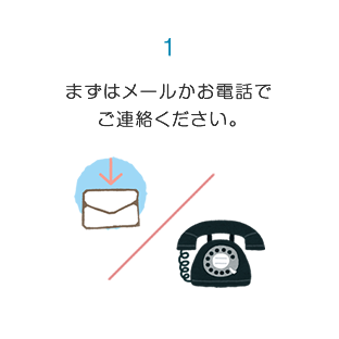 まずはメールかお電話でご連絡ください。